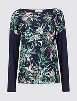 Per Una Floral Print Woven Front Long Sleeve T-Shirt