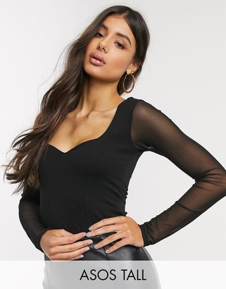 Asos Tall ASOS DESIGN Tall sweetheart neckline bodysuit with mesh sleeve in black