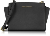 Michael Kors Selma Medium Black Saffiano Leather Messenger