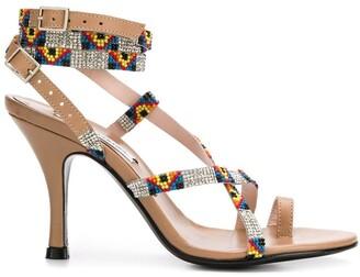 Leandra Medine Aztec strappy sandals