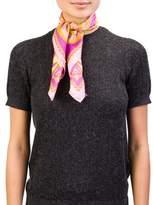 Versace Women's Baroque Pattern Silk Scarf Pink.