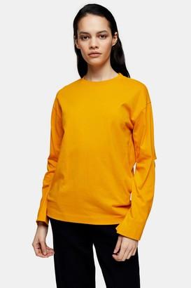Topshop Womens **Orange Elbow Slash T-Shirt By Orange