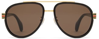 Gucci Aviator Acetate Sunglasses - Mens - Black