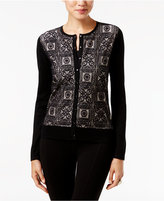 August Silk Lace-Front Cardigan