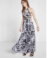 Express Tropical Print Strappy Cut-out Plunge Maxi Dress