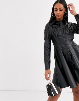 Asos DESIGN Long sleeve leather look fringe shirt dress