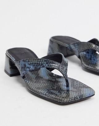 ASOS DESIGN Humid premium leather mid-heeled flip flops in blue snake