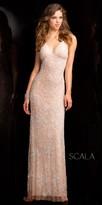 Scala Open Back Halter Beaded Gown