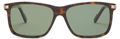 Cartier Eyewear - Panthere Sqare Tortoiseshell Acetate Sunglasses - Mens - Tortoiseshell