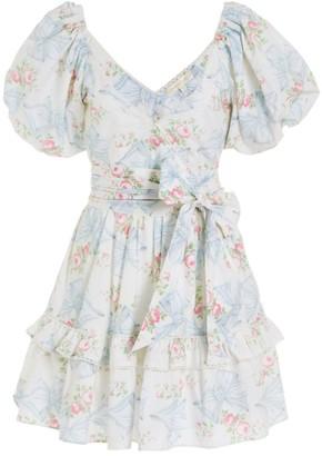 LoveShackFancy Zelle Puff-Sleeve Fit & Flare Dress