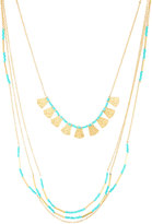 Fragments for Neiman Marcus Long Golden Multi-Strand Beaded Necklace, Turquoise