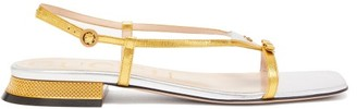 Gucci Alison Metallic-leather Slingback Sandals - Silver Gold