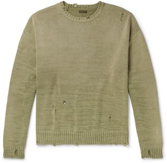 KAPITAL Distressed Intarsia Cotton-Blend Sweater