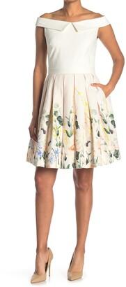 Ted Baker Elegant Floral Plated Skirt Fit & Flare Dress