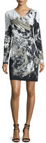 Roberto Cavalli Long-Sleeve Kimono-Floral Dress, Black/White