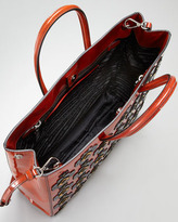 Prada Floral Applique Spazzolato Tote Bag