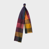 Paul Smith Men's Green Check Lambswool Scarf