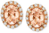 LeVian Le Vian Peach Morganite (1 ct. t.w.) and Diamond (1/4 ct. t.w.) Oval Stud Earrings in 14k Rose Gold, Only at Macy's