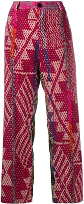 F.R.S For Restless Sleepers Geometric Print High-Waist Trousers