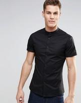 Asos Skinny Shirt In Black With Grandad Collar And Short Sleeves