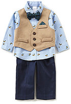 Starting Out Baby Boys 3-24 Months Duck-Print Shirt, Vest, Flat-Front Pants, & Bow Tie Set