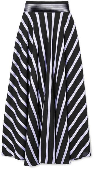 Diane von Furstenberg Striped Cotton-blend Maxi Skirt - Black