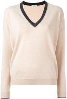Brunello Cucinelli contrast V-neck jumper - women - Silk/Cashmere/Virgin Wool - XL