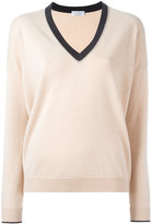 Brunello Cucinelli contrast V-neck jumper - women - Silk/Cashmere/Virgin Wool - XXL