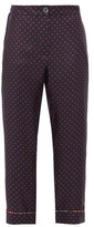 La Prestic Ouiston Miami Polka-dot Cropped Silk-twill Trousers - Womens - Navy Multi