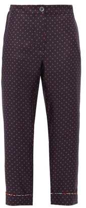 La Prestic Ouiston Miami Polka-dot Cropped Silk-twill Trousers - Navy Multi