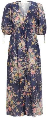 Zimmermann Zinnia Shirred Waist Dress in Cobalt Floral