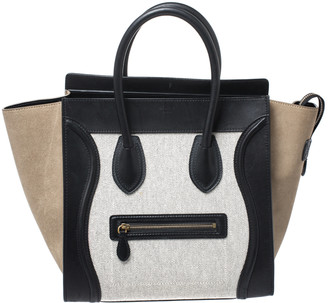 Celine Tri Color Canvas/Suede and Leather Mini Luggage Tote