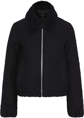 Helmut Lang Shearling-trimmed Wool-blend Boucle-tweed Jacket