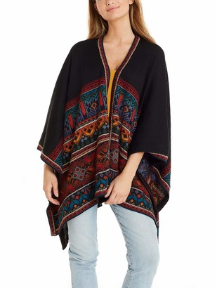 Invisible World Women's Knitted Poncho 100% Alpaca Wool Shawl Wrap from Bolivia Tarabuco
