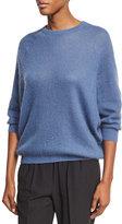 Brunello Cucinelli Ribbed Knit Crewneck Sweater, Blue