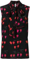 Alexander McQueen heart print sleeveless blouse
