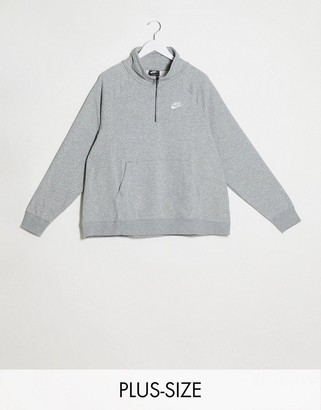 Nike Plus essentials half zip funnel gray sweatshirt