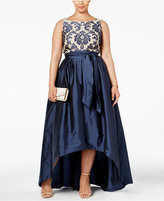 Adrianna Papell Plus Size Embroidered Lace Ball Gown