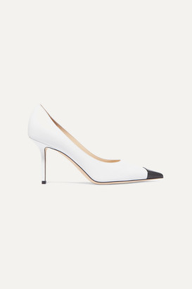 Jimmy Choo Love 85 Mismatched Two-tone Matte And Patent-leather Pumps - White