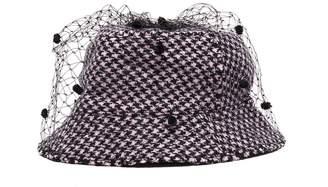 Bernstock Speirs Pompom veil houndstooth tweed bucket hat