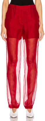 Helmut Lang Straight Leg Organza Pant in Red | FWRD