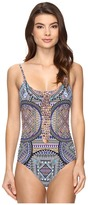 Red Carter Tribal Daze Side Cut Out Tank Mio One-Piece