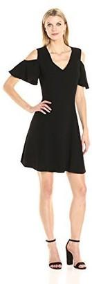 Sharagano Women's Cold Shoulder Crepe Dress