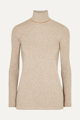 Brunello Cucinelli Bead-embellished Melange Stretch Cotton-jersey Turtleneck Top - Camel