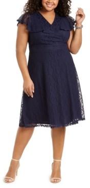 Jessica Howard Plus Size Flutter-Sleeve Lace Dress