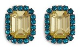 Kenneth Jay Lane Emerald cut stone glass crystal clip earrings