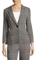 Escada Three-Quarter Sleeve Glen Plaid Jacket