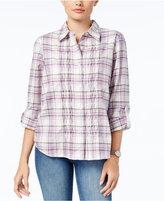 Alfred Dunner Palm Desert Woven Plaid Shirt