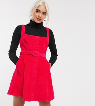 Asos DESIGN Petite cord sleeveless skater dress in raspberry
