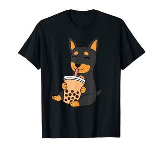 Mini A Ture Funny Min Pin Clothing Miniature Pinscher Drinking Bubble Tea Funny Dog Gift T-Shirt